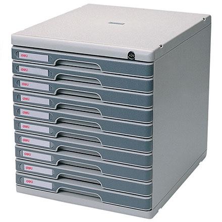 得力977-10十层硬塑文件柜(带锁)